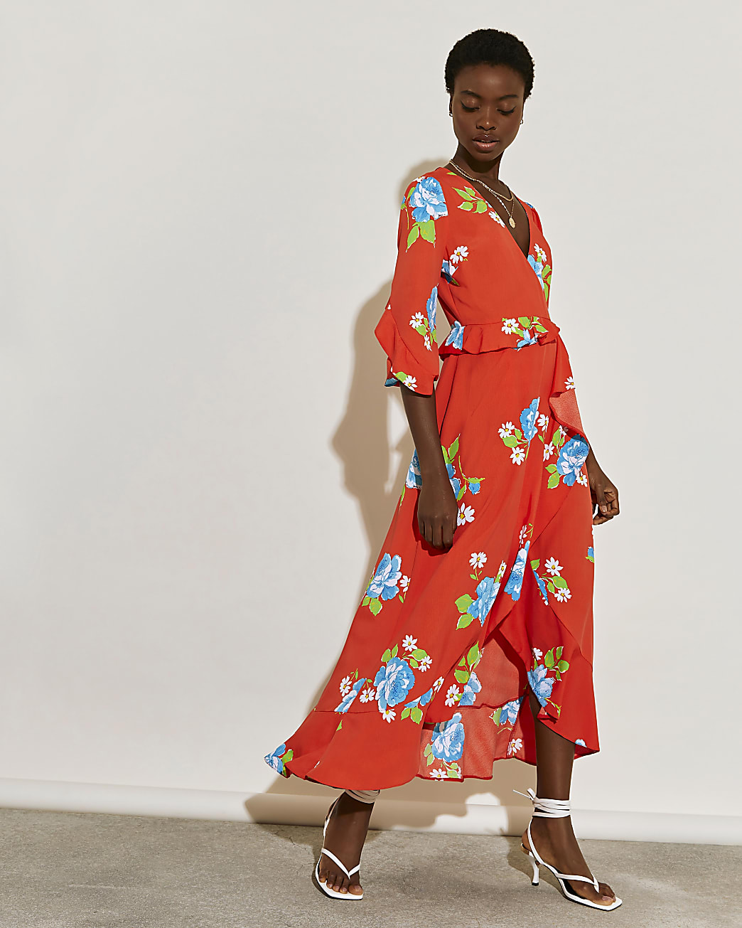 Red floral printed wrap frill dress
