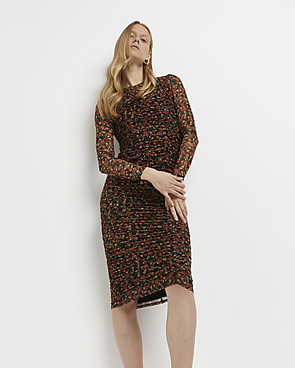Red floral ruched midi dress