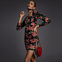 Red floral rushed mesh bodycon dress