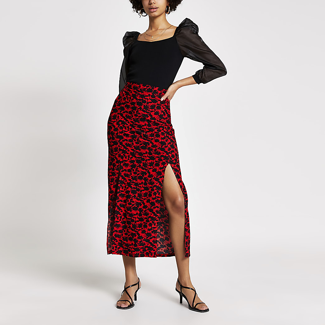 Red floral split leg midi skirt