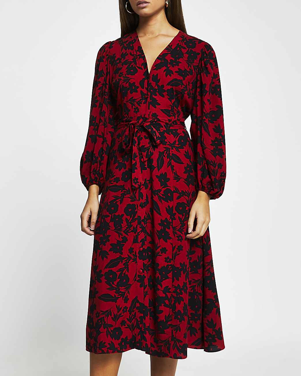 Red floral tie waist midi dress
