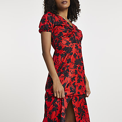 Red floral twist front midi dress