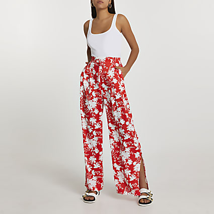 Red floral wide split leg trousers