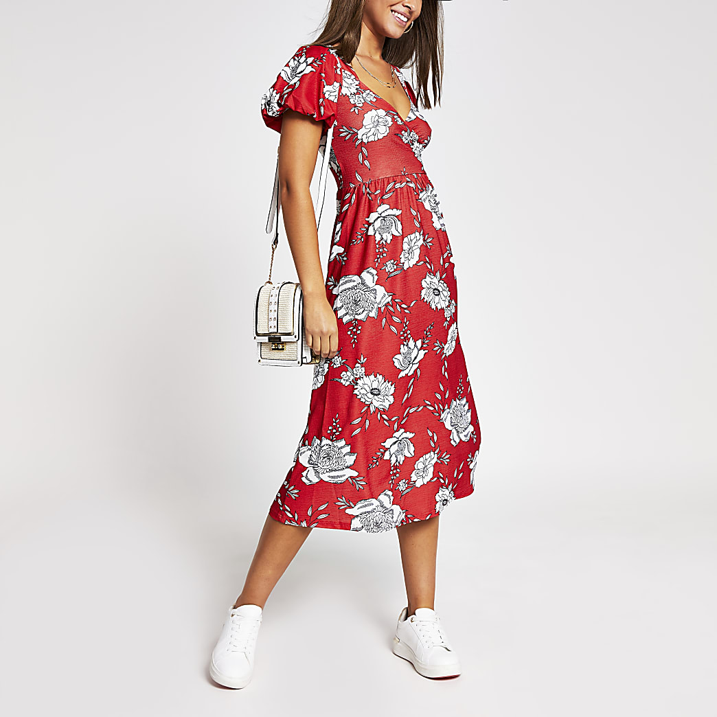 Red floral wrap midi dress