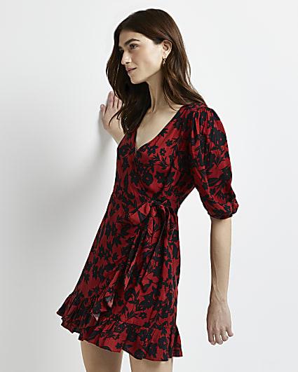 Red floral wrap mini dress