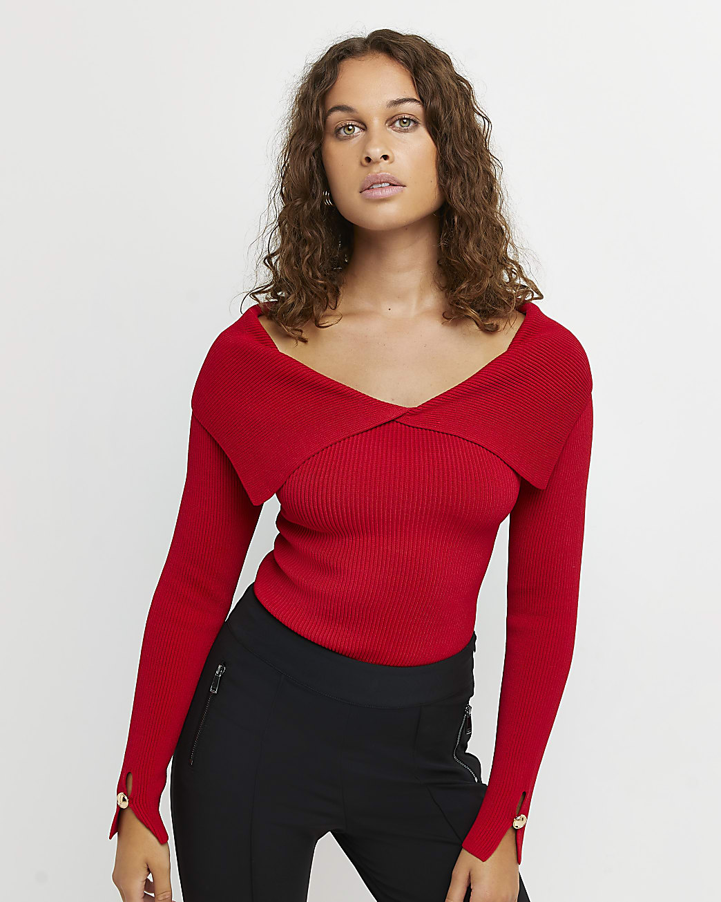 Red fold over neck top
