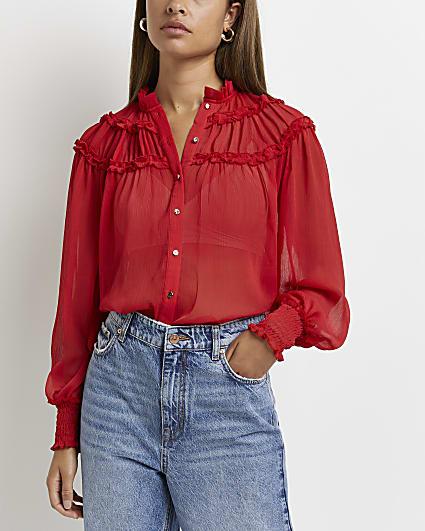 Red frill puff sleeve shirt