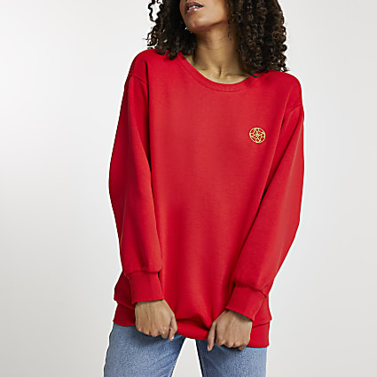 Red gold chain puff sleeve RI sweatshirt