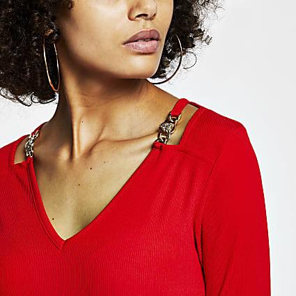 Red gold chain shoulder detail v neck top