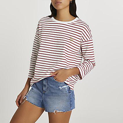 Red half sleeve stripe top