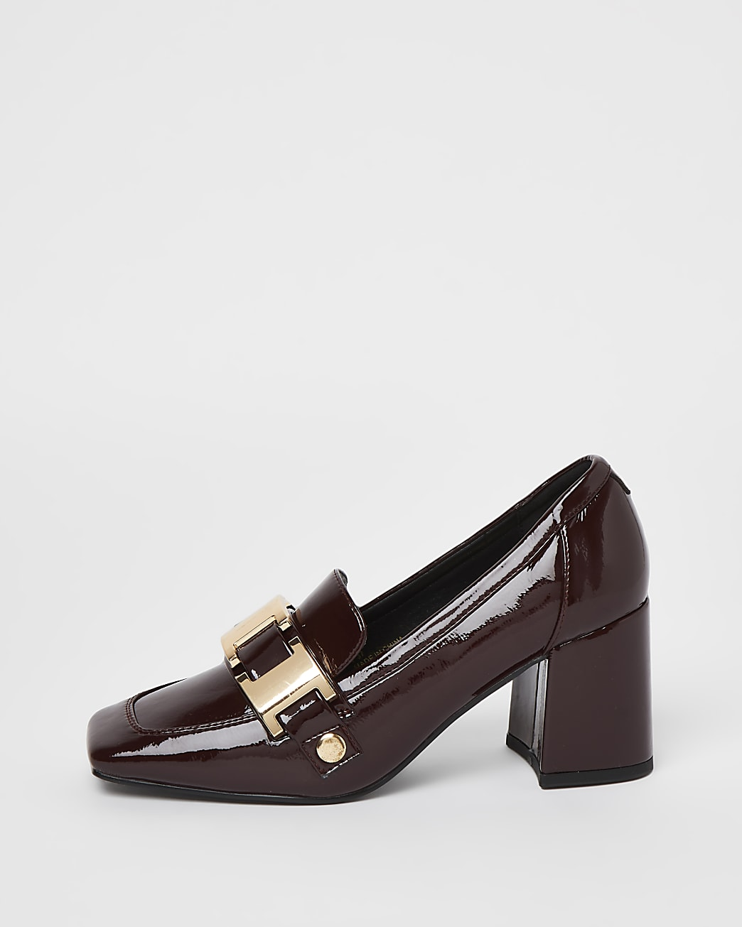 Red heeled loafers