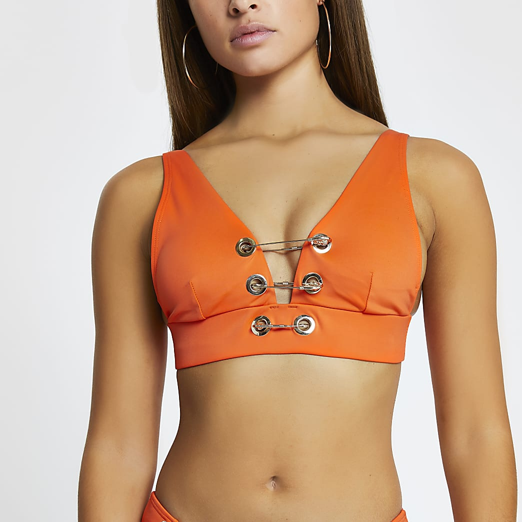 Red high apex triangle detail bikini top