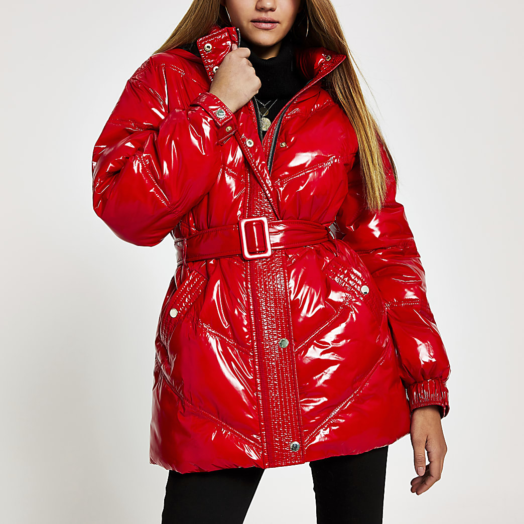 Red high shine belted puffer jacket