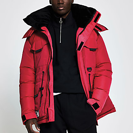 Red hooded parka jacket