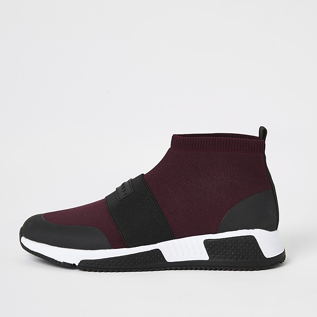 Red knitted runner sock mid top trainers