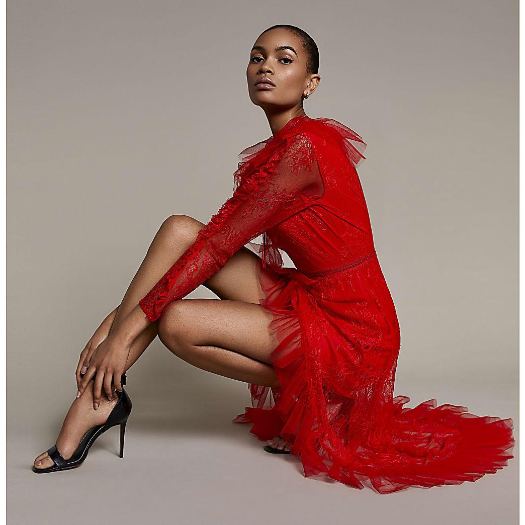 Red lace long sleeve asymmetric hem dress