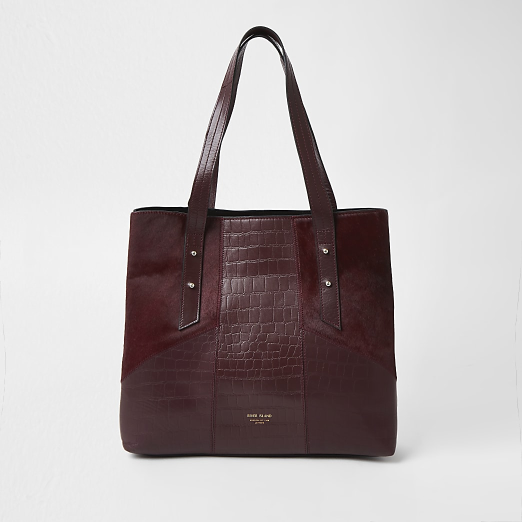 Red leather embossed tote bag