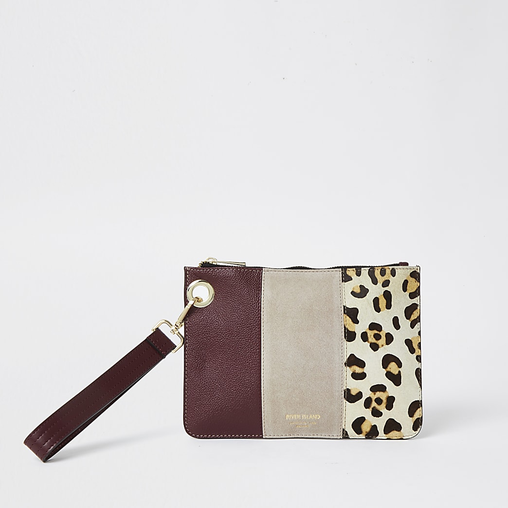 Red leopard print suede small pouch