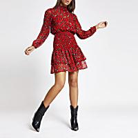 Red leopard print tiered frill hem dress
