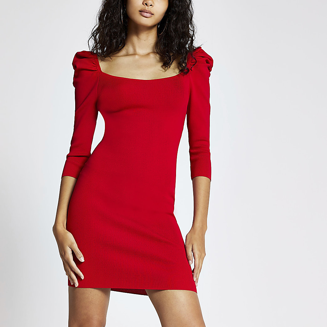 Red long puff sleeve knitted bodycon dress