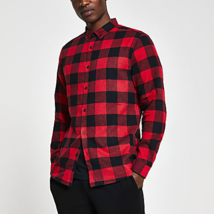 Red long sleeve check regular fit shirt