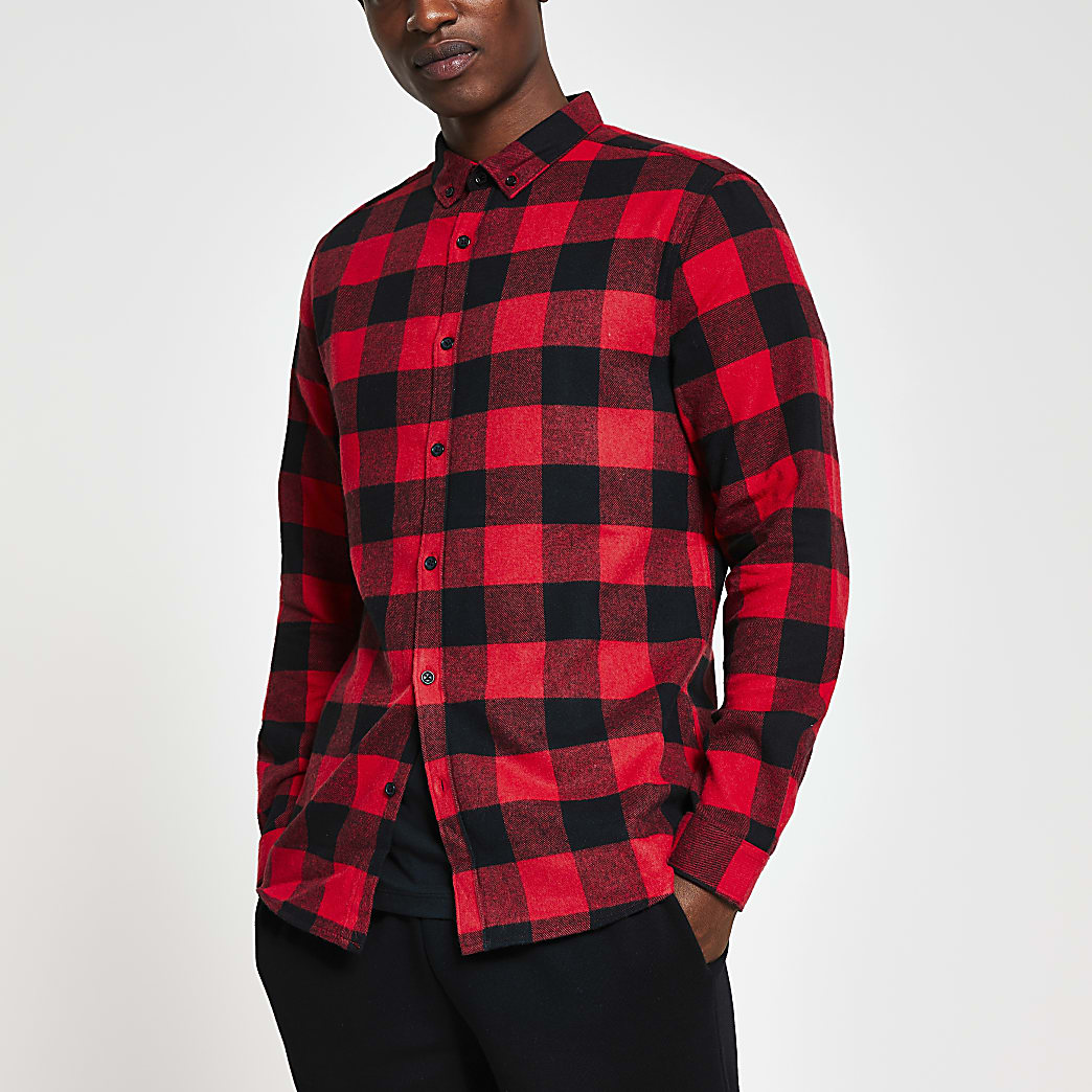 Red long sleeve check regular fit shirt