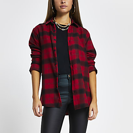 Red long sleeve check shirt