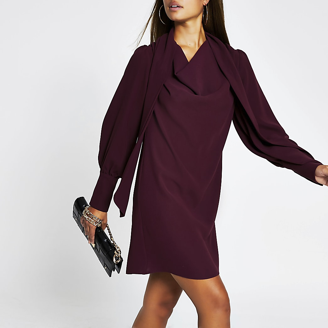 Red long sleeve cowl neck shift dress
