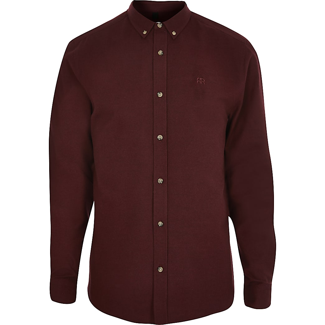 Red long sleeve flannel slim fit shirt