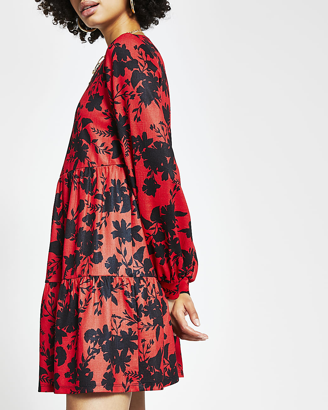 Red long sleeve floral smock dress