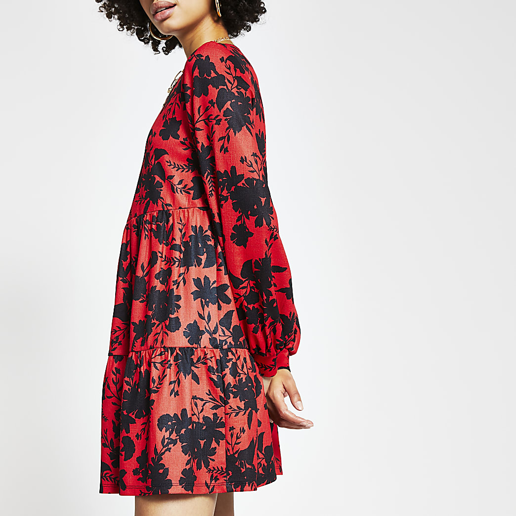 Red long sleeve floral smock dress