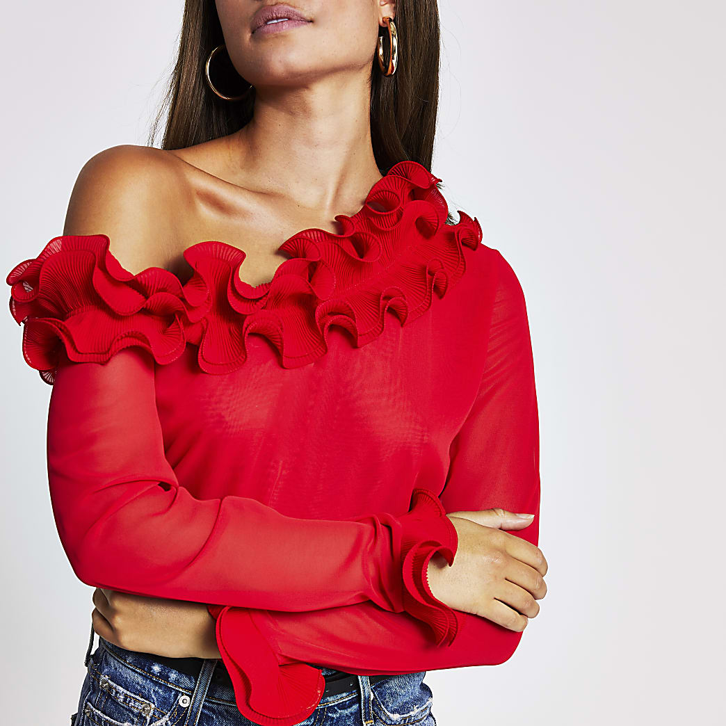 Red long sleeve one shoulder frill top