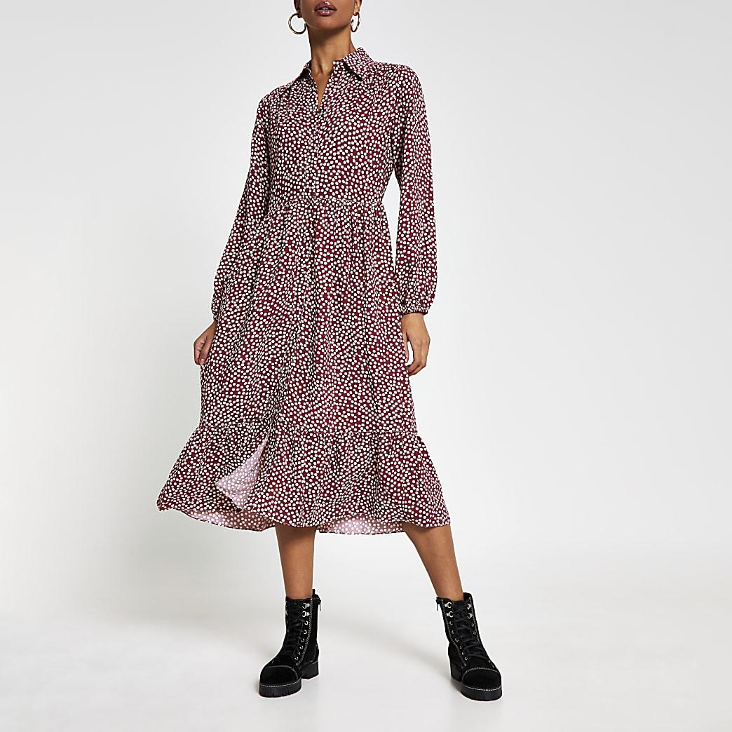 Red Long Sleeve Polka Dot Midi Shirt Dress