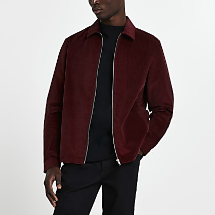 Red long sleeve regular fit cord shirt