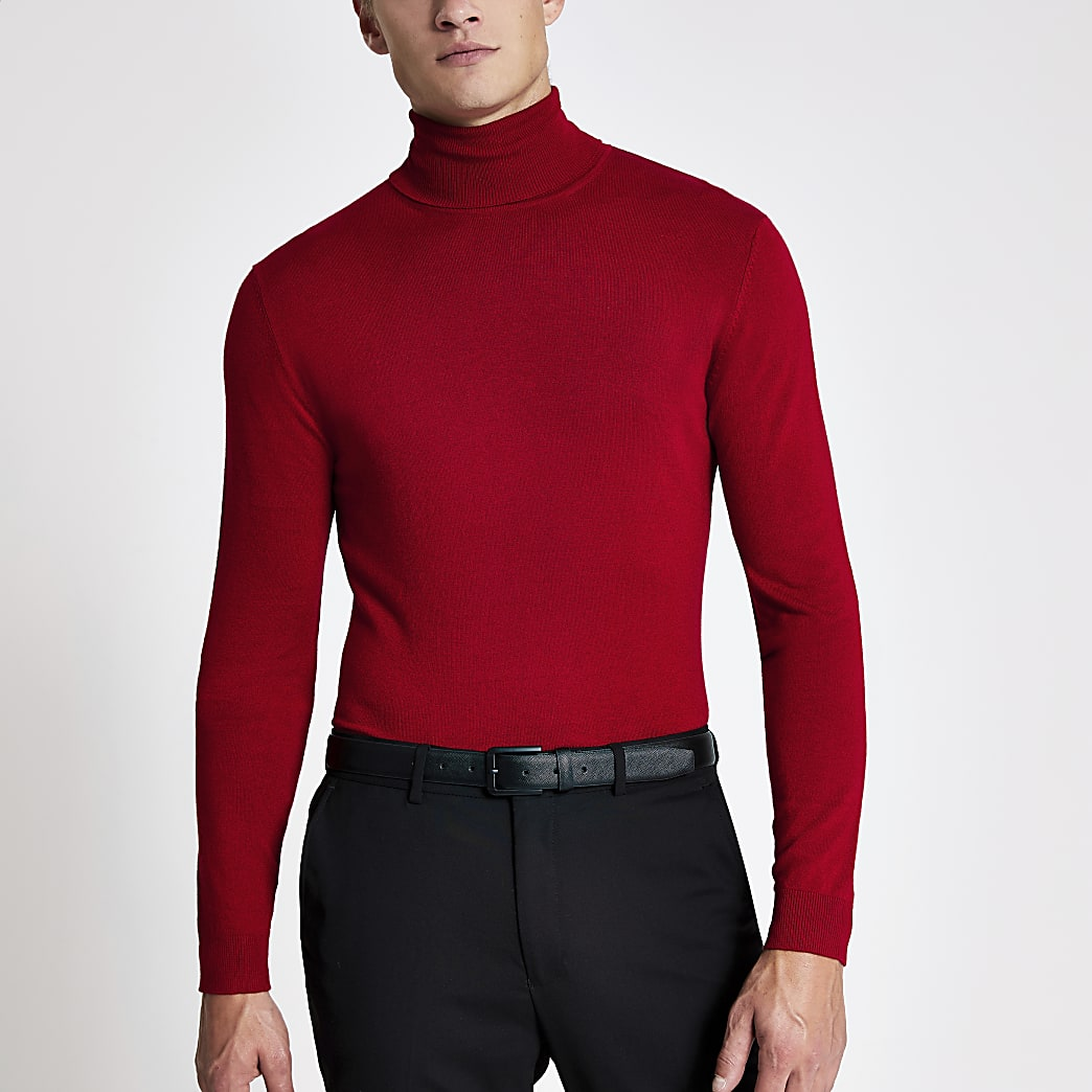 Red long sleeve roll neck slim fit jumper