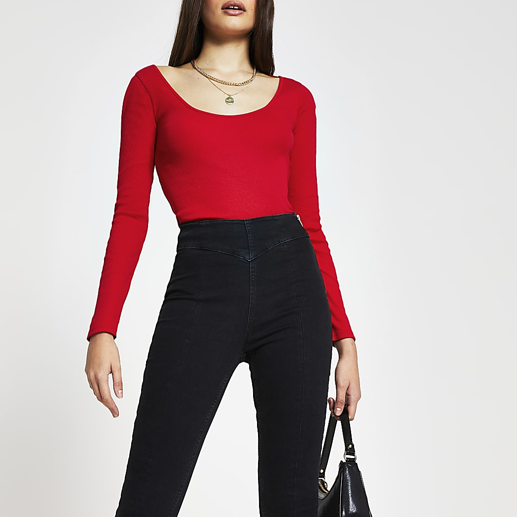 Red long sleeve scoop neck top