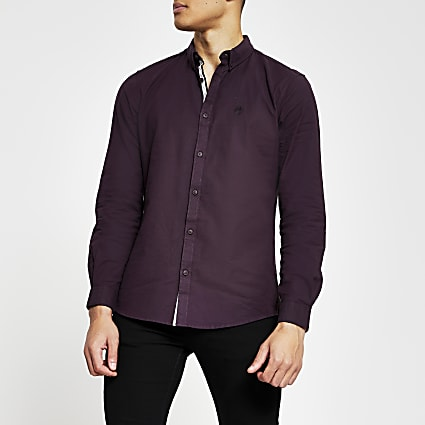 Red long sleeve slim fit oxford shirt