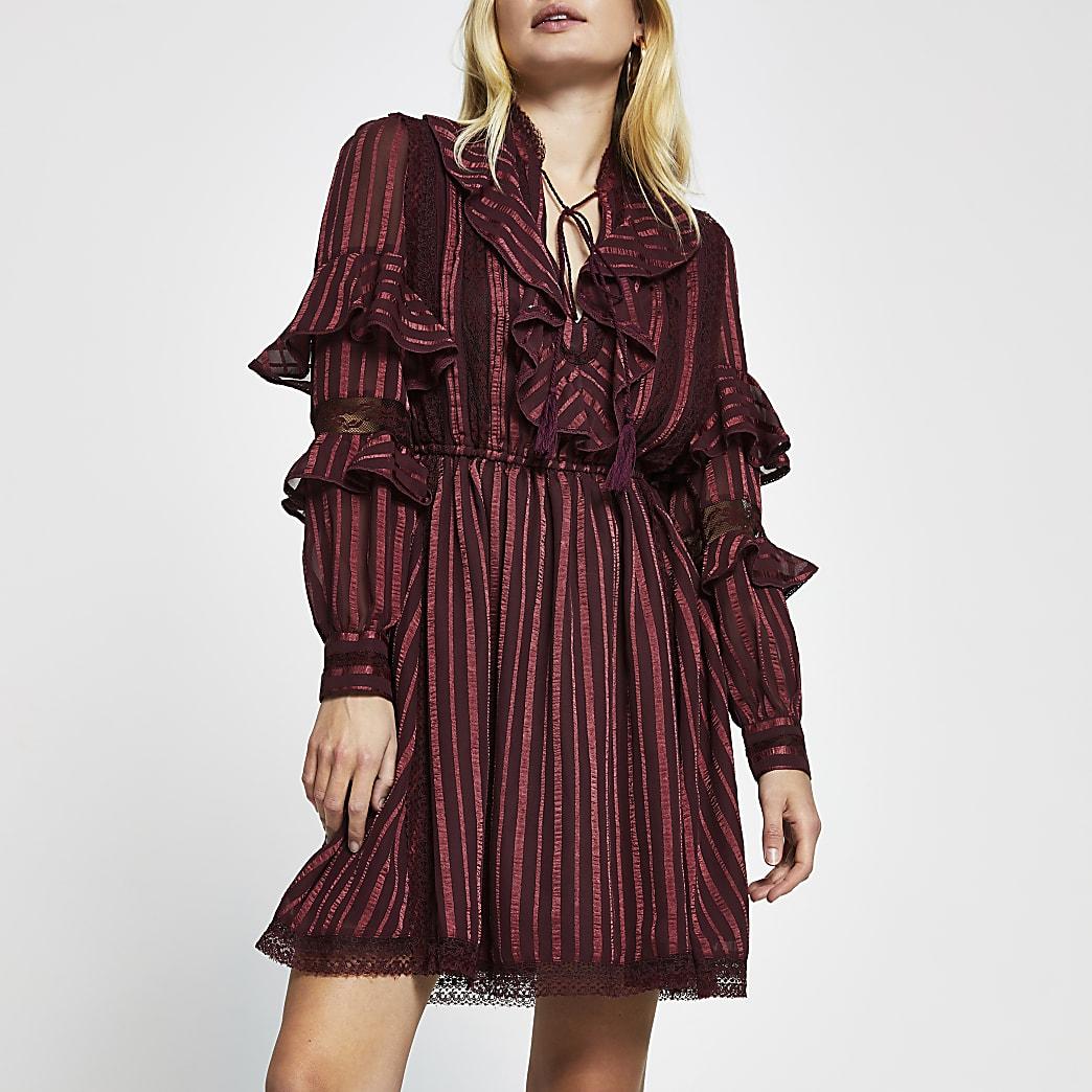 Red long sleeve stripe frill mini dress