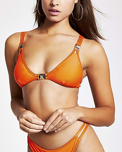 Red metallic spot trim triangle bikini top