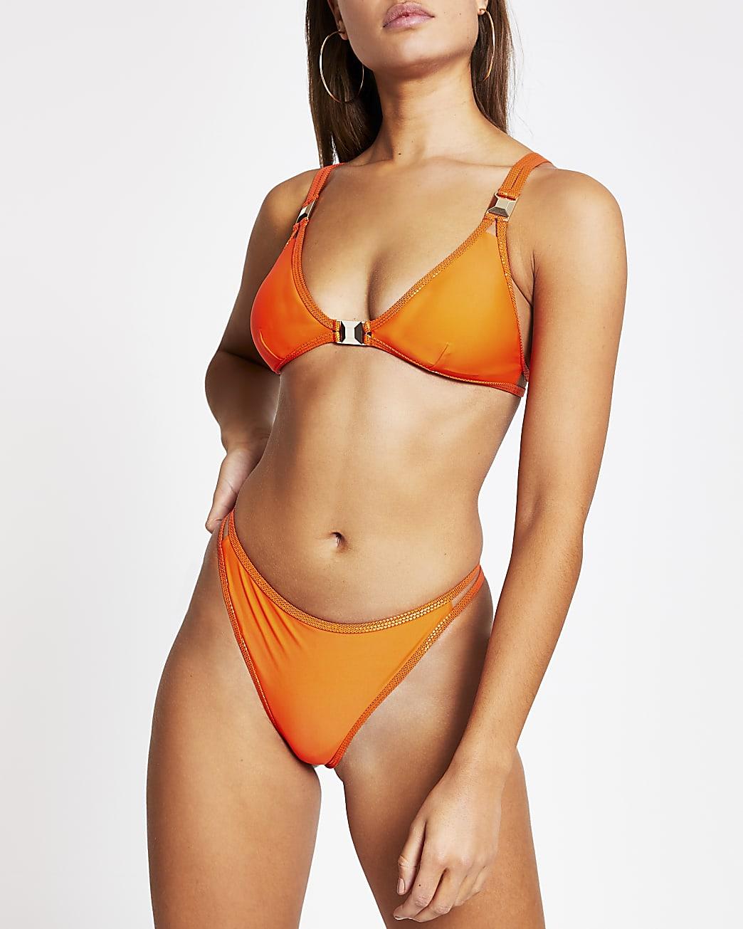 Red metallic trim high leg bikini bottoms