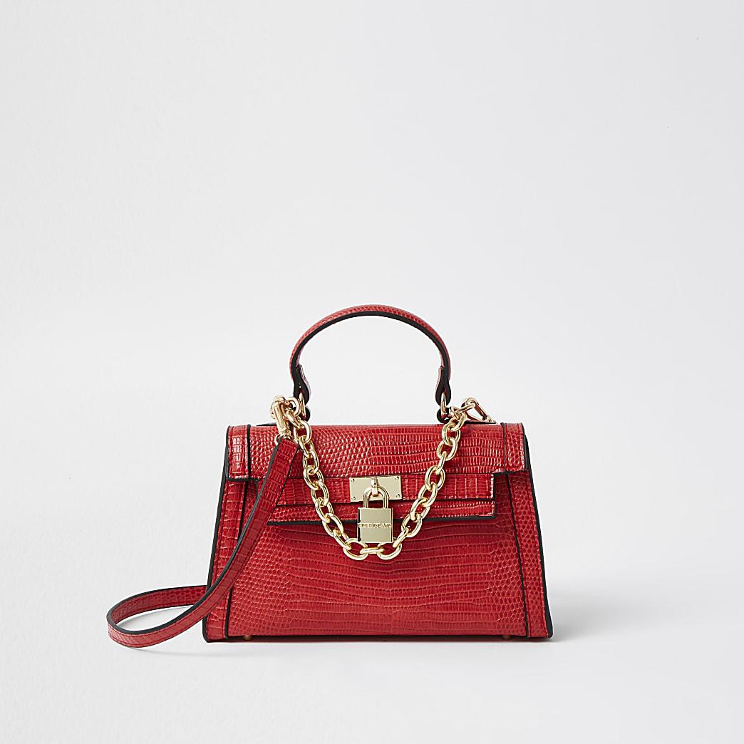 Red mini chain detail padlock crossbody bag