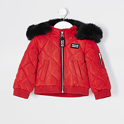 Red mini girls matte padded bomber jacket