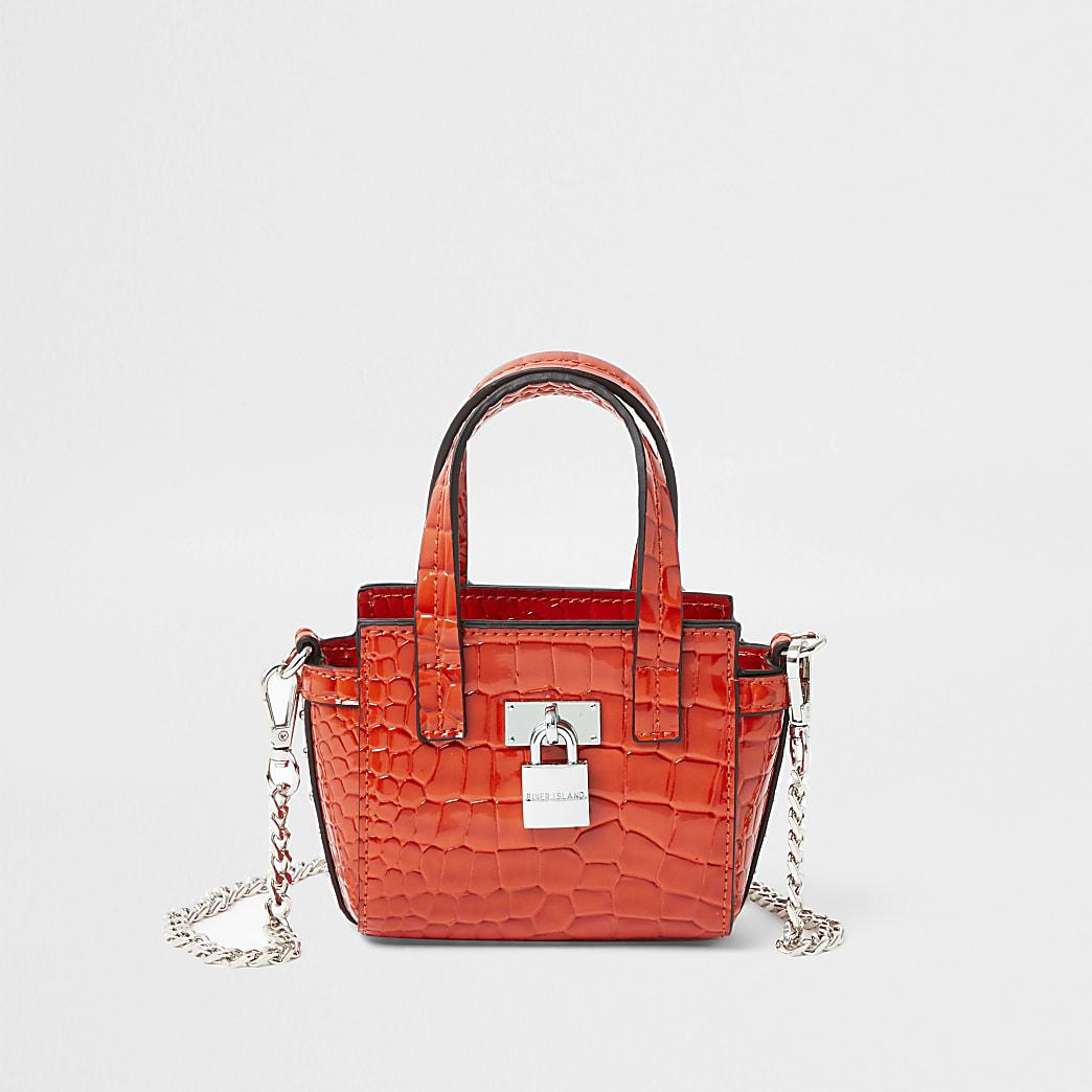 Red mini patent embossed wing tote handbag