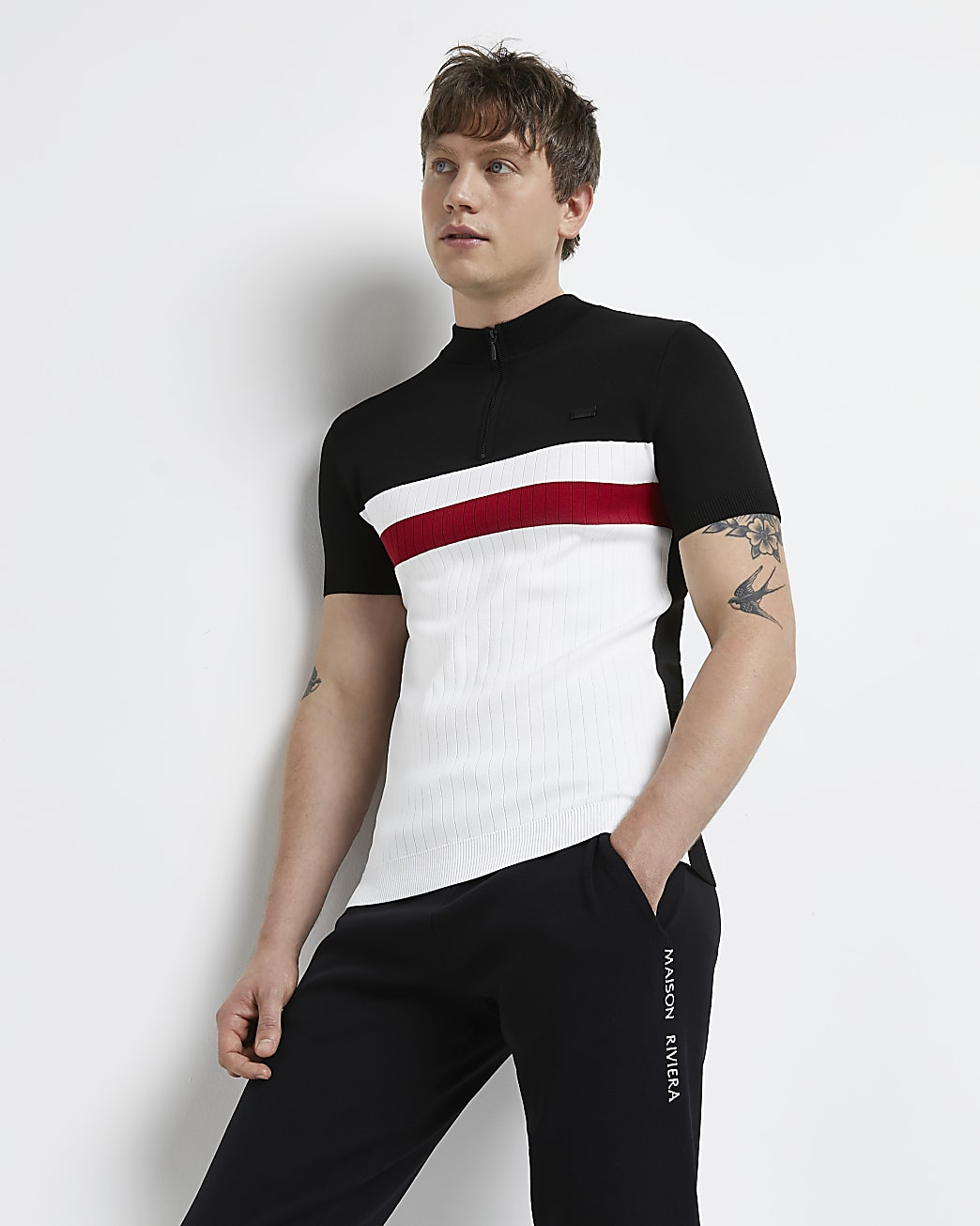 Red muscle fit colour block zip polo shirt