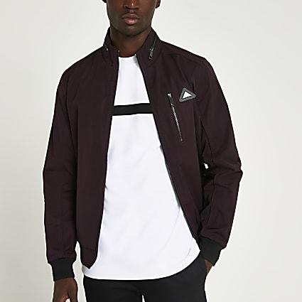 Red nylon RI branded racer jacket