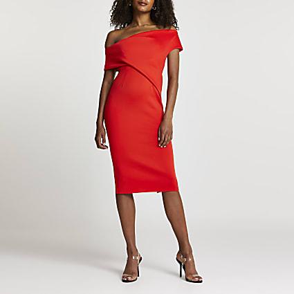 Red off the shoulder midi dress