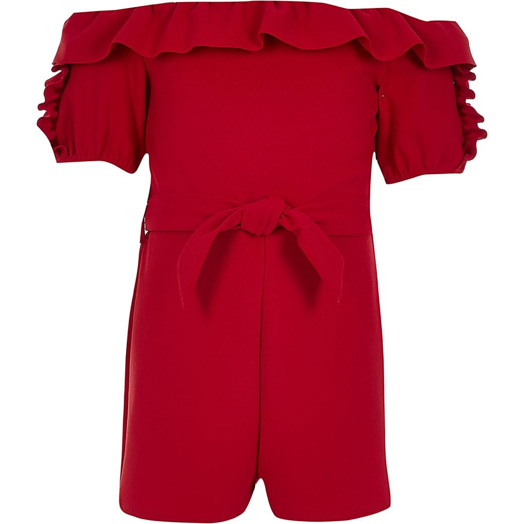 Red OG Bardot Ruffle Playsuit
