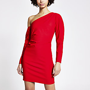 Mini-robe moulante asymétrique rouge