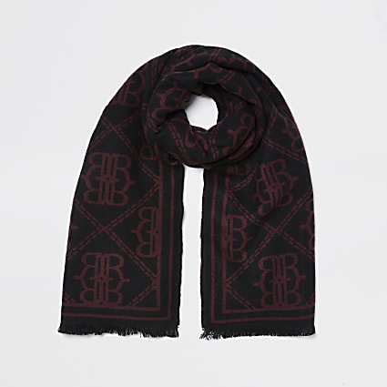 "Red Oversized ""RR"" Monogram Scarf"