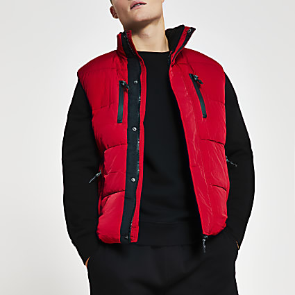 Red padded double pocket puffer gilet